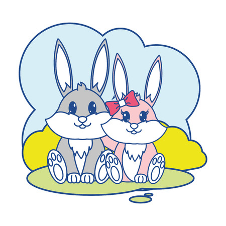 line color rabbit couple cute animal in the landscape vector illustration