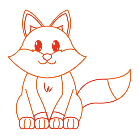 color line fox cute wild animal character vector illustration 일러스트