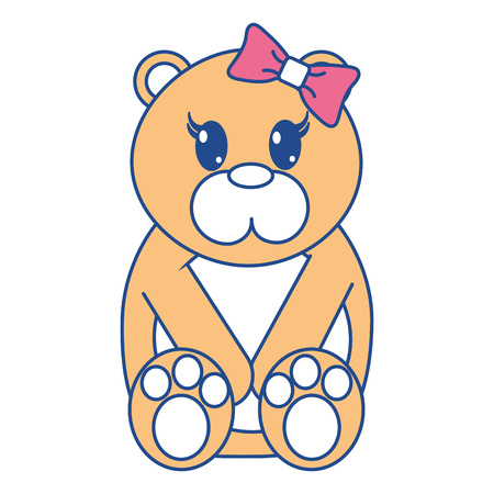 line color female bear cute animal with ribbon bow vector illustration Illustration