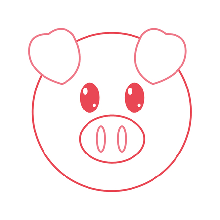 color line pig head cute animal character vector illustration Illustration