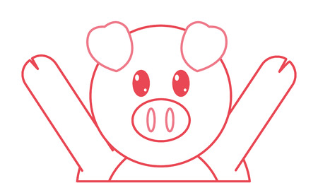 color line pig cute animal with hands up vector illustration
