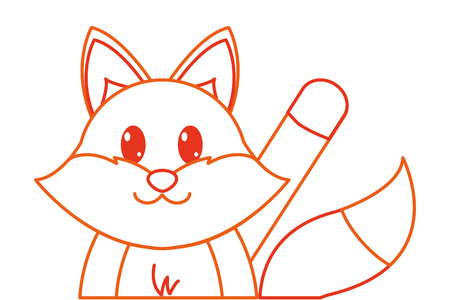 color line fox cute animal with hand up vector illustration Illustration
