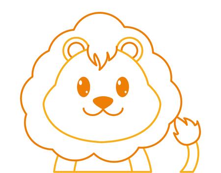 color line adorable lion cute animal character vector illustration Illustration
