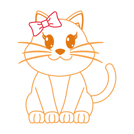 color line female cat cute animal with ribbon bow vector illustration
