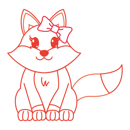 color line female fox cute animal with ribbon bow vector illustration Illustration