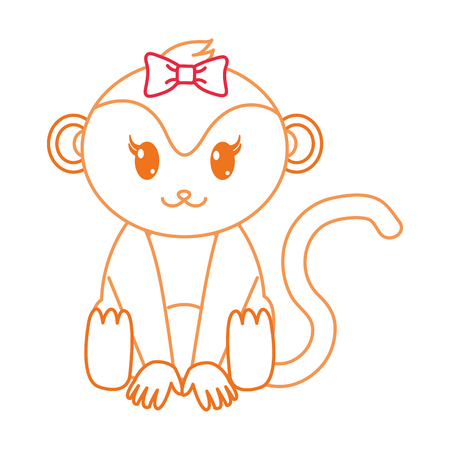 color line female monkey cute animal with ribbon bow vector illustration
