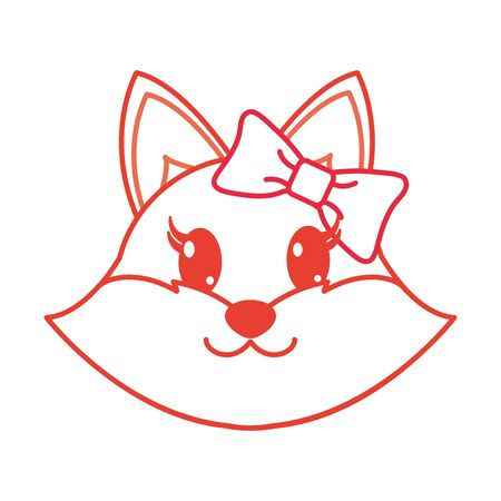 color line female fox head cute animal vector illustration