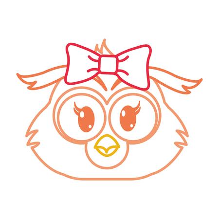 Farblinie weibliche Eule Kopf niedlichen Tier Vektor-Illustration Standard-Bild - 95504641