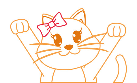 color line adorable female cat with hands up vector illustration