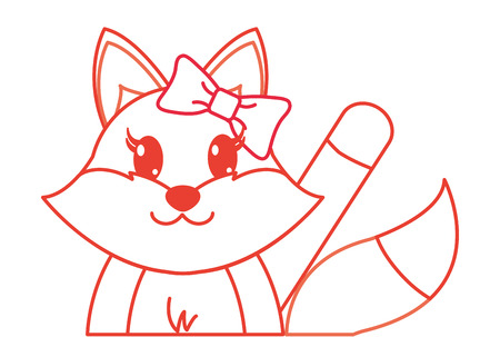 color line adorable female fox animal with hand up vector illustration