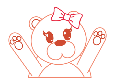 color line adorable female bear animal with hands up vector illustration