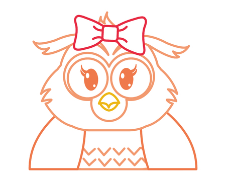 color line adorable female owl cute animal vector illustration