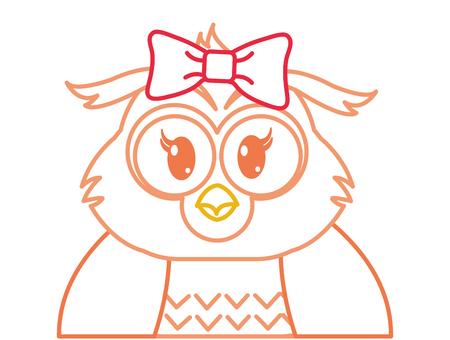 color line adorable female owl cute animal vector illustration