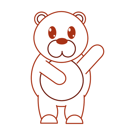 color line adorable bear wild animal with hand up vector illustration Illustration