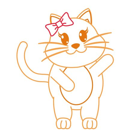 color line adorable female cat animal with hand up vector illustration Illustration