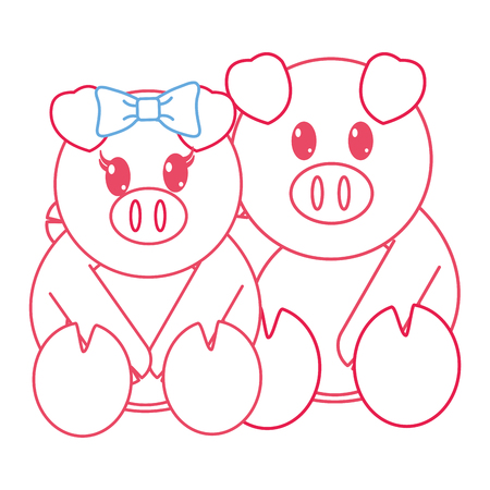 color line pig couple cute animal together vector illustration