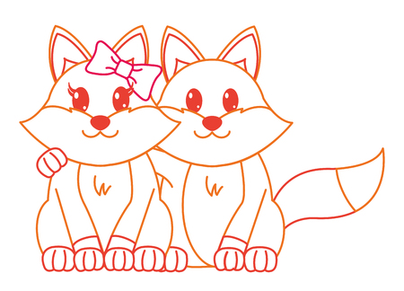 color line fox couple cute animal together vector illustration 일러스트