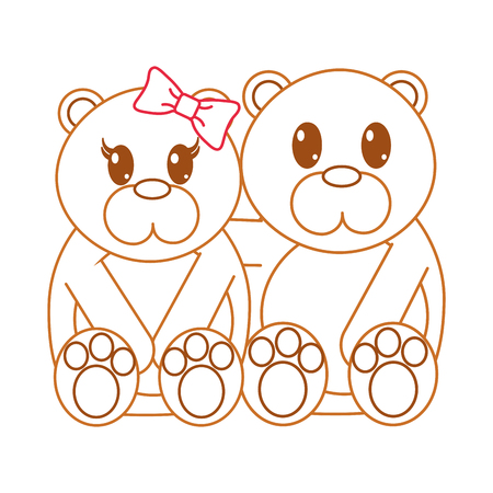 color line bear couple cute animal together