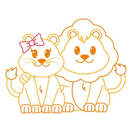 color line lion couple cute animal together vector illustration
