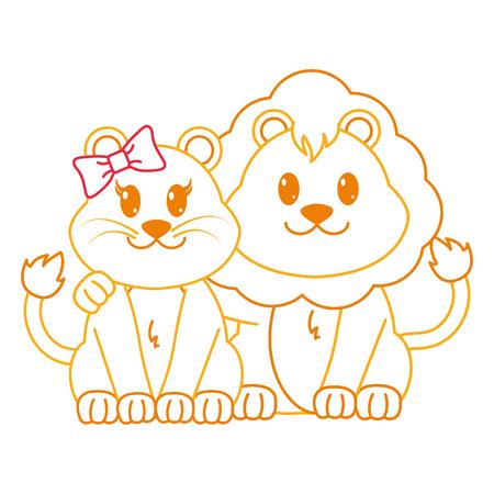 color line lion couple cute animal together vector illustration