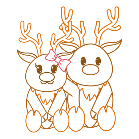 color line reindeer couple cute animal together vector illustration