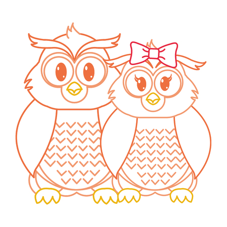 color line owl couple cute animal together vector illustration