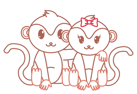 Color Line Monkey Couple Cute Animal Together Vector Illustration