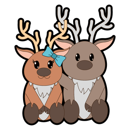 Full color reindeer couple cute animal together