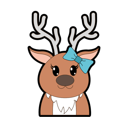 full color adorable female reindeer cute animal Illustration