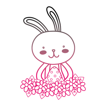 color line rabbit animal with egg easter with flowers