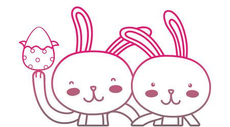 color line happy rabbit couple together with egg easter