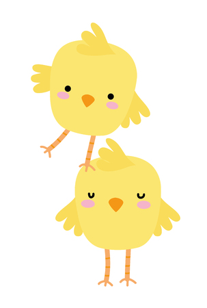 colorful chicks farm birds animal playing Vector illustration.