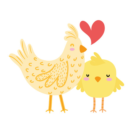 colorful hen and chick love and family together Vector illustration.