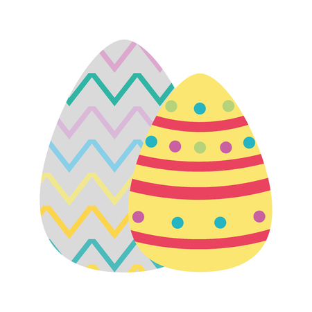 Colorful Easter egg with figures points to holiday celebration.