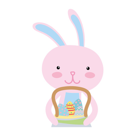 Colorful happy rabbit animal with eggs inside hamper.