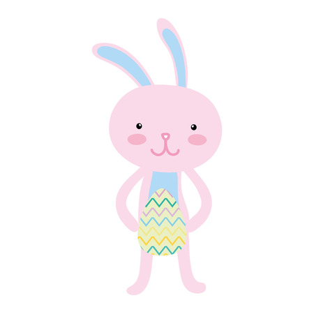 colorful rabbit animal with egg easter to holiday celebration