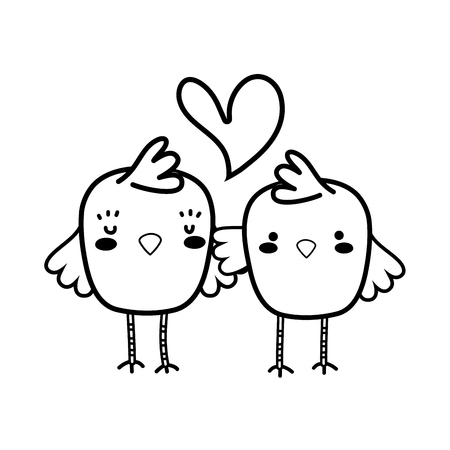 line chicks couple together and love heart