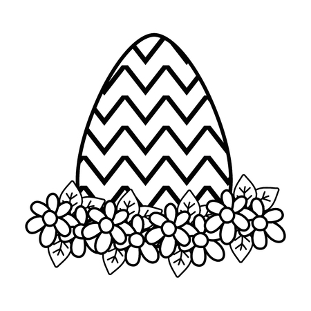 Line Easter egg with figures with flowers decoration. Illustration