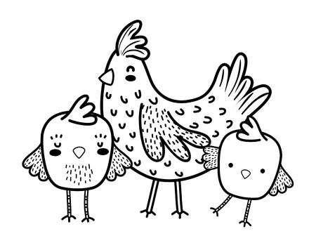 line hen with chicks farm bird animals
