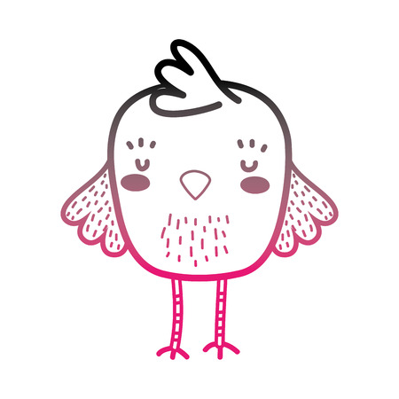 color line chick bird farm animal with wings