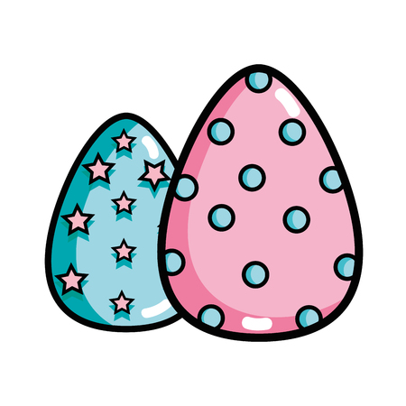 eggs easter with points and stars decoration