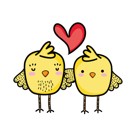 Chicks couple together and love heart vector illustration