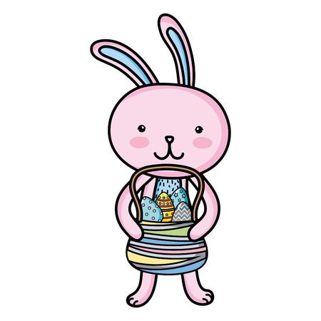 Rabbit animal with Easter egg decoration inside hamper.