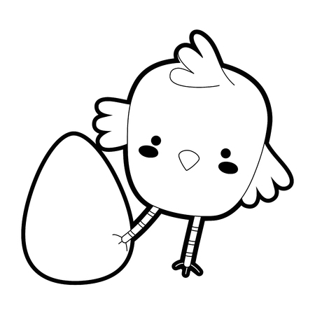 Outline chick bird animal playing with egg Stock Illustratie