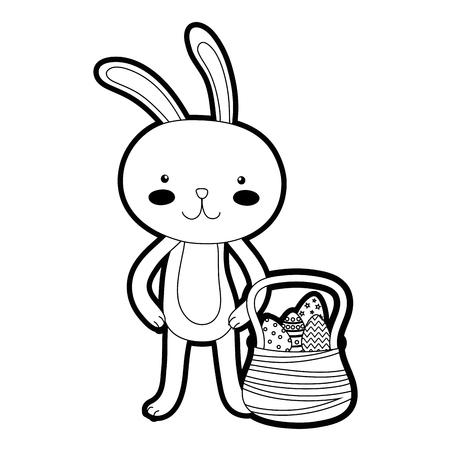 Outline rabbit animal and eggs easter inside hamper Illustration