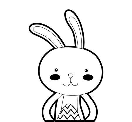 Outline rabbit animal with egg easter celebration Illustration