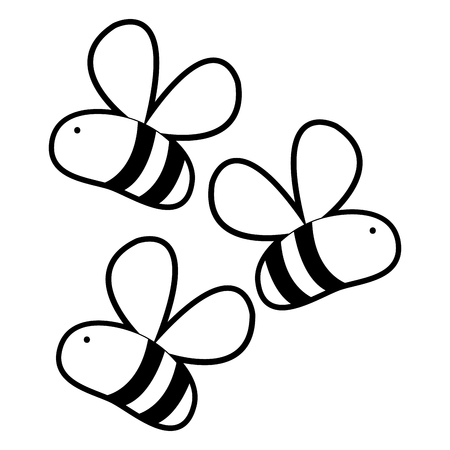 Outline cute bees insect animal flying