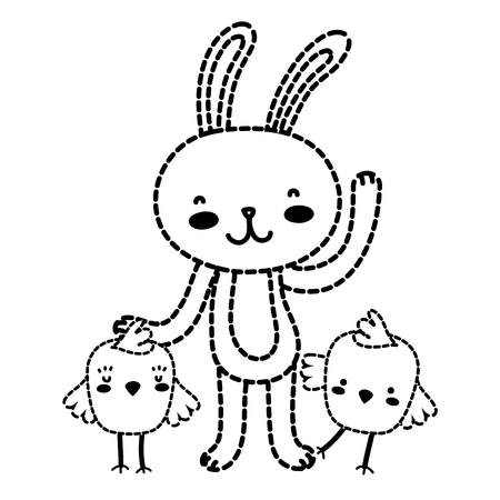 Dotted shape chicks with rabbit animal to easter celebration