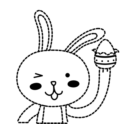 Dotted shape rabbit animal with egg easter design