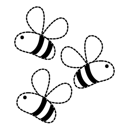 Dotted shape cute bees insect animal flying